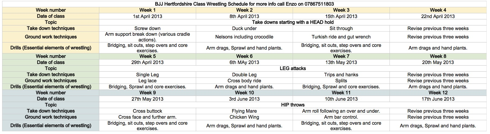 12 week wrestling programme April to July 2013 - Sheet1