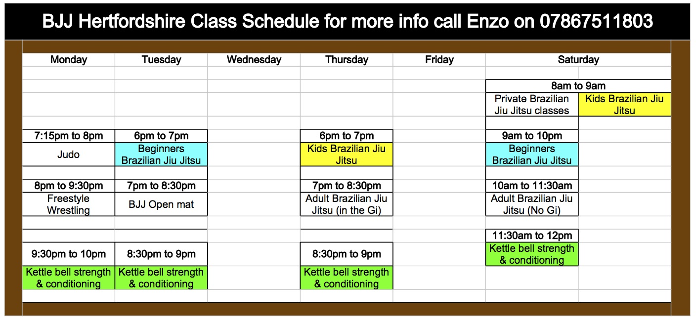 BJJ Hertfordshire Class Time Table Jan 2014 - Sheet1